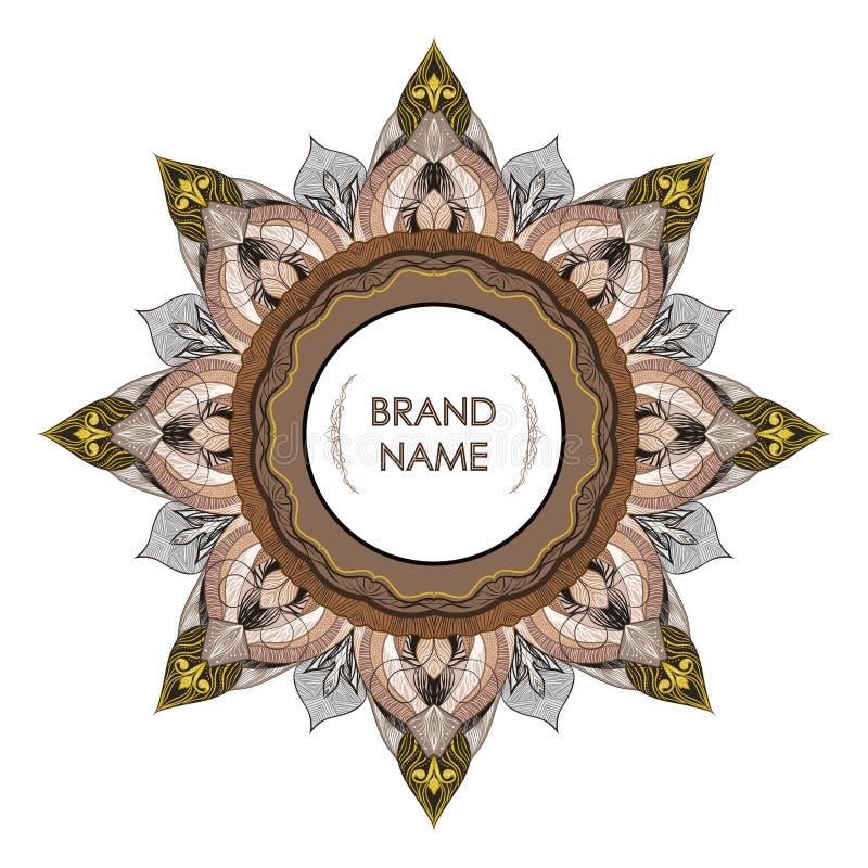 文本的葡萄酒对称装饰框架 图画花卉金银细丝工的详述的典雅式样  皇族释放例证