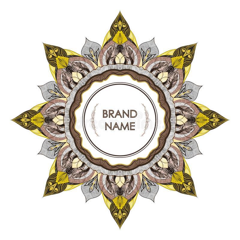 文本的葡萄酒对称装饰框架 图画花卉金银细丝工的详述的典雅式样  库存例证