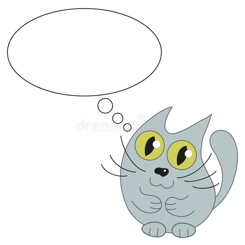 文本的逗人喜爱的猫和讲话泡影 向量例证