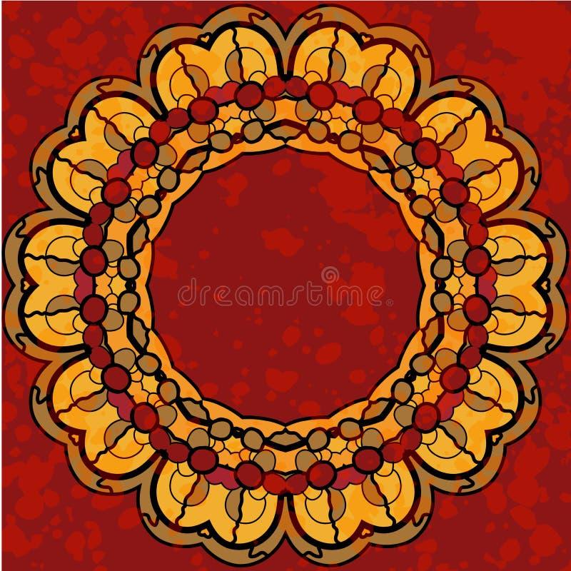 文本的风格化圆的坛场框架 皇族释放例证