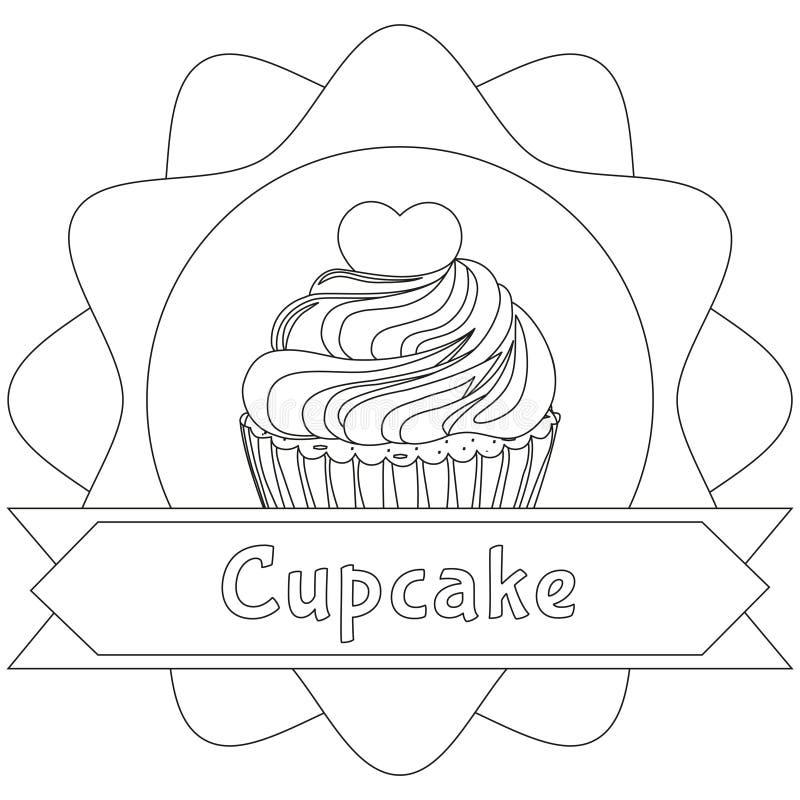 文本的黑白杯形蛋糕海报心脏顶部地方 向量例证