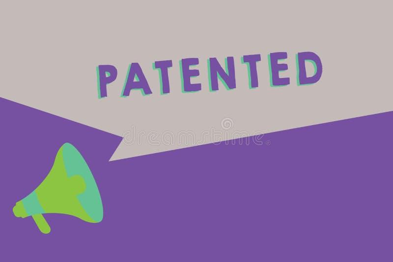 文本给予专利的标志陈列 概念性照片发明或过程保护了商谈正确的正式文件 向量例证