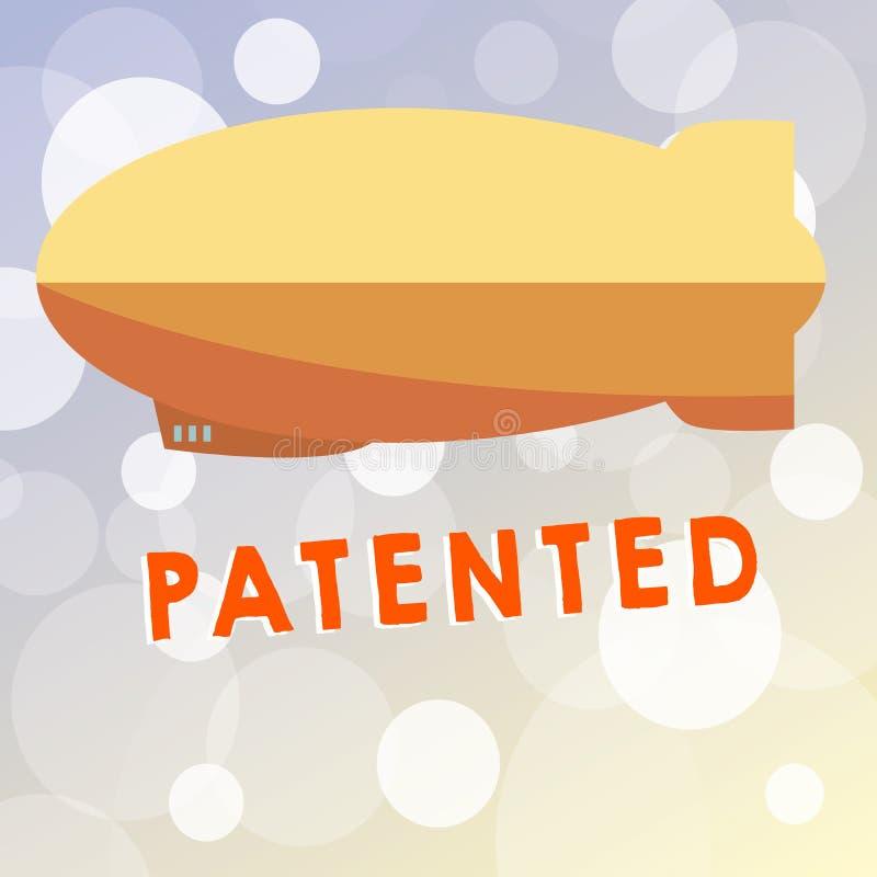 文本给予专利的标志陈列 概念性照片发明或过程保护了商谈正确的正式文件 库存例证