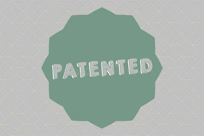文本给予专利的标志陈列 概念性照片发明或过程保护了商谈正确的正式文件 皇族释放例证