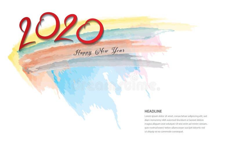 2020文本设计新年快乐的黑色,汇集和节日快乐,书信设计元素,手写被图片