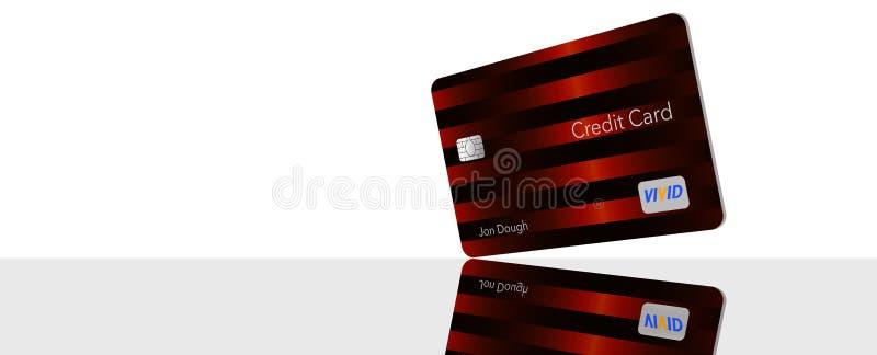 文本这里信用卡的空间是与显示与larg的普通非违犯的商标和类型的一张普通信用卡 向量例证