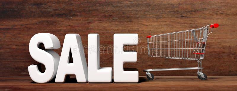 文本销售、大白色信件和在木背景隔绝的超级市场台车 3d例证 库存例证