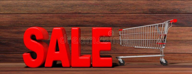 文本销售、大红色信件和在木背景隔绝的超级市场台车 3d例证 库存例证