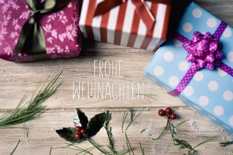 文本Frohe Weihnachten,圣诞快乐用德语 库存照片