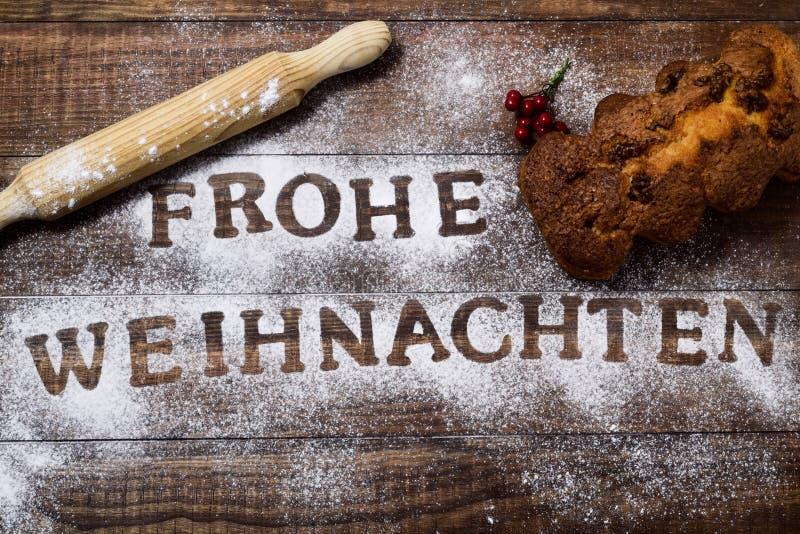 文本Frohe Weihnachten,圣诞快乐用德语 免版税库存图片