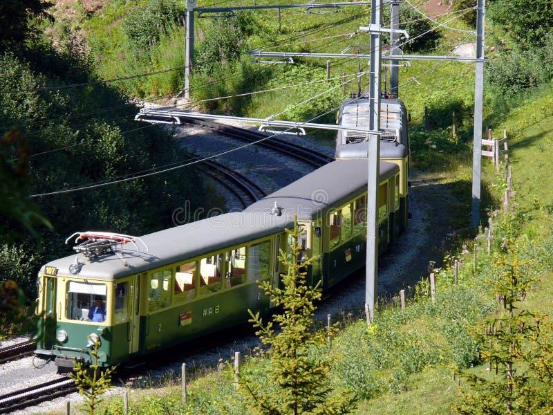 文根,瑞士 08/04/2009 导致Jungfraujoch的齿轨铁路 库存照片