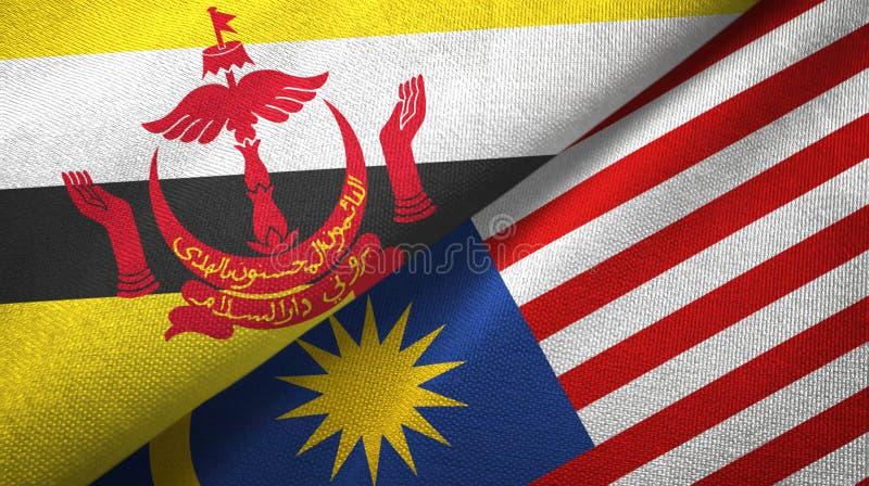 文莱和马来西亚两旗子纺织品布料,织品纹理 向量例证