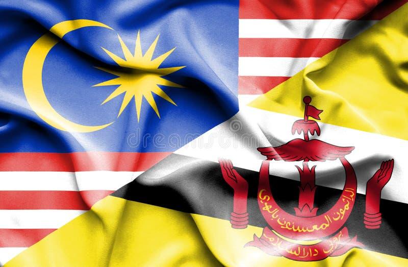 文莱和马来西亚的挥动的旗子 皇族释放例证
