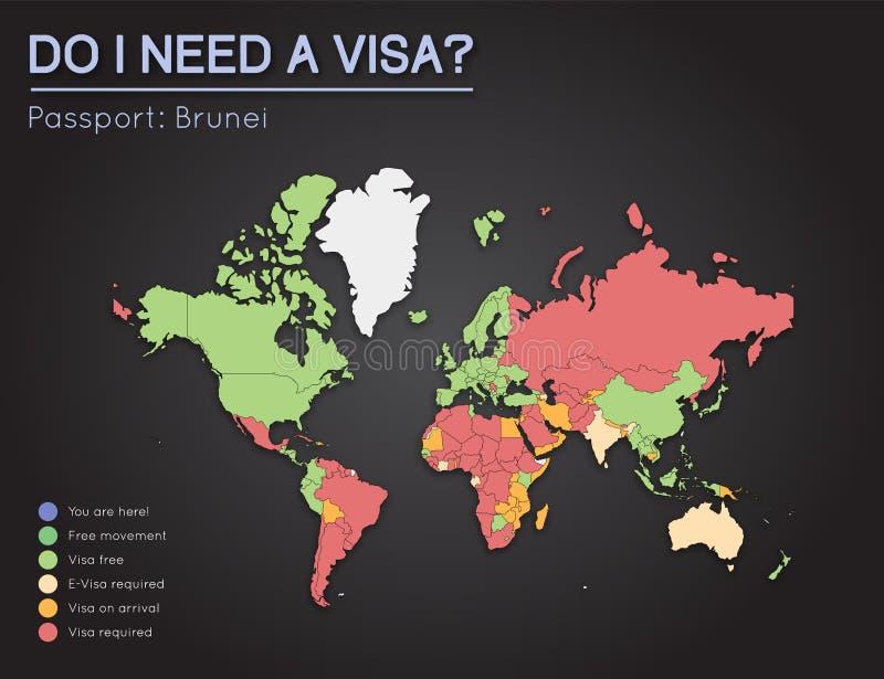 文莱护照的国家的签证信息 库存例证