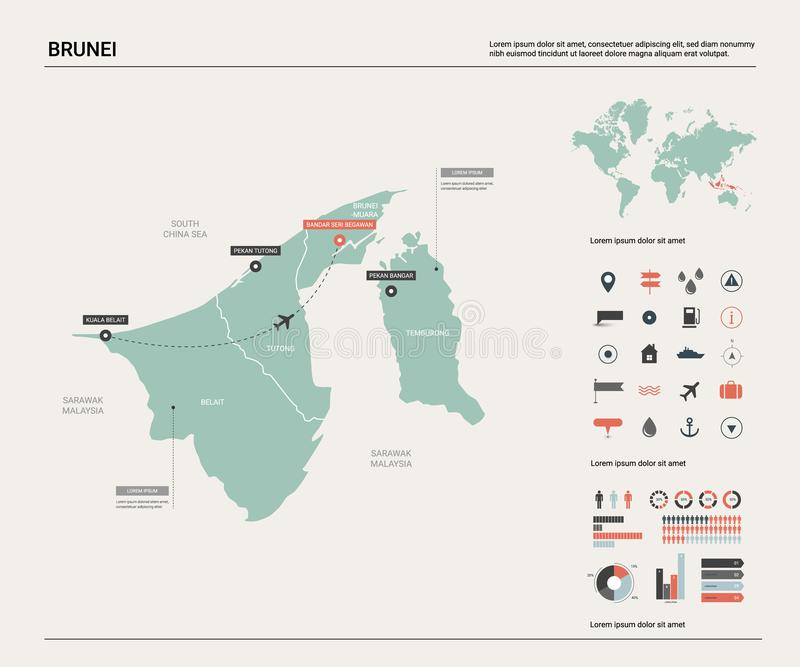 文莱的传染媒介地图 与分裂、城市和资本斯里巴加湾的高详细的国家地图 政治地图,世界地图 向量例证