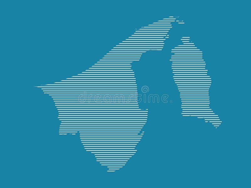 文莱达鲁萨兰与简单的直线的地图传染媒介在蓝色背景 库存例证
