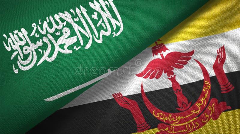 文莱达鲁萨兰和沙特阿拉伯两旗子纺织品布料织品纹理 皇族释放例证