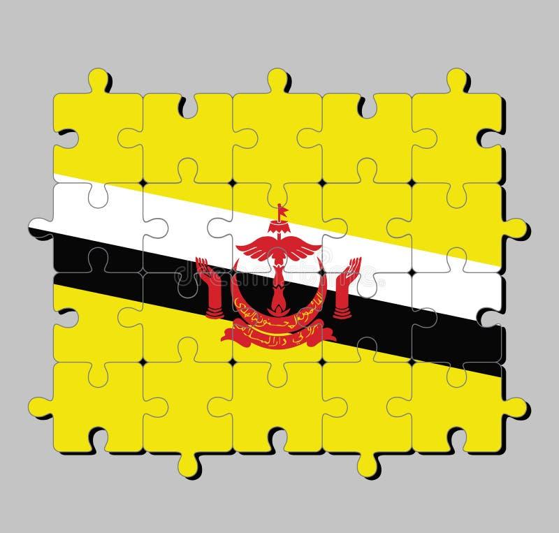 文莱达鲁萨兰旗子拼图在黄色领域裁减的红色冠由黑白对角条纹 向量例证
