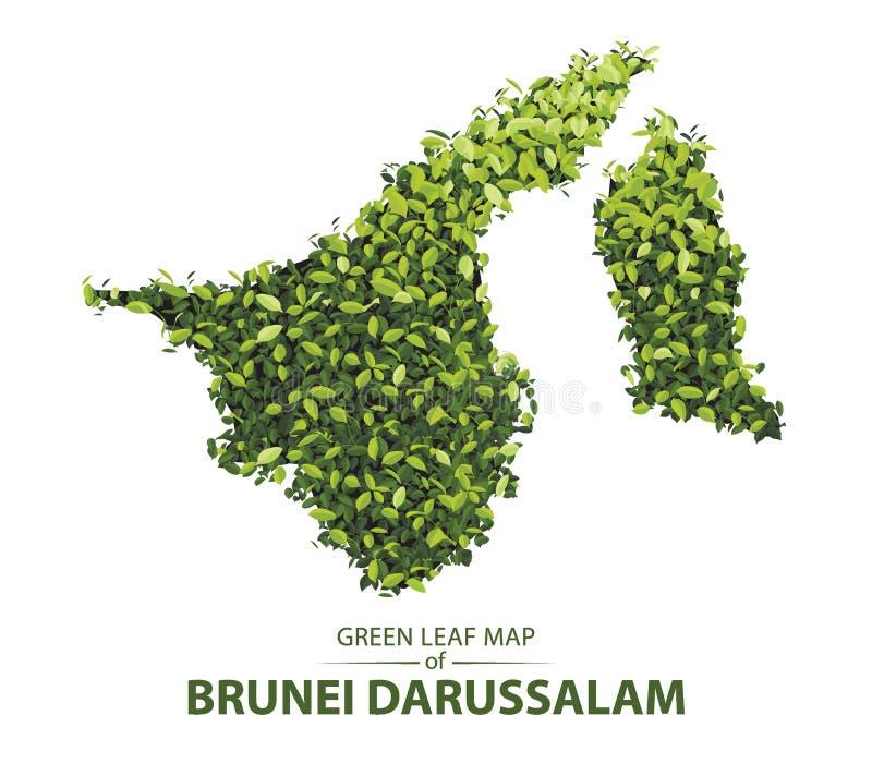 文莱达鲁萨兰森林的传染媒介例证绿色叶子地图是概念 皇族释放例证