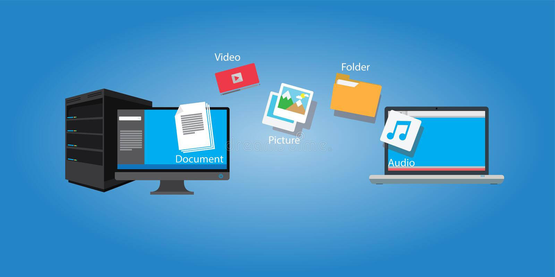 文件传输拷贝文件和媒介从计算机到膝上型计算机 向量例证