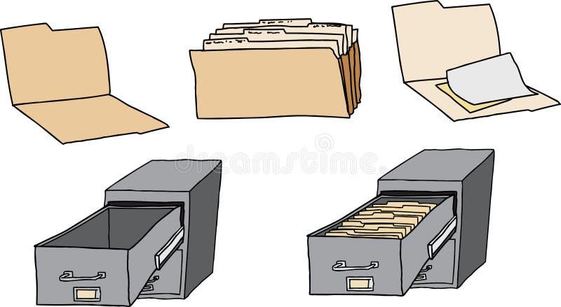 文件夹和档案橱柜 库存例证