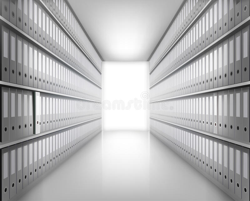 文件夹在档案里。传染媒介例证。 向量例证