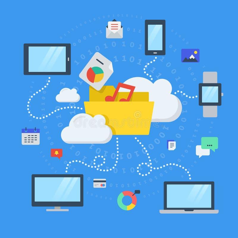 文件存储,分享,在云彩计算 向量例证
