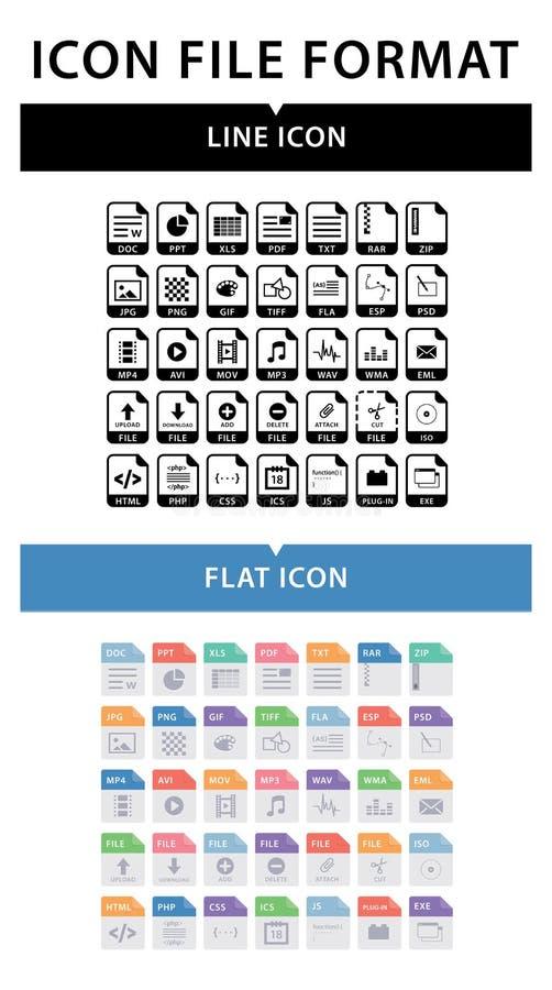 文件格式象集合 在平的样式的文件格式 在线型的文件格式 向量例证