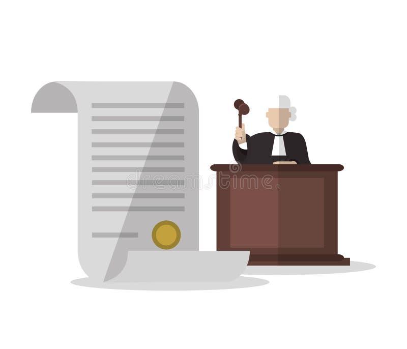 文件法官和法律设计 库存例证