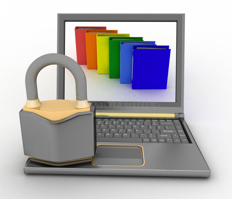 文件的安全保障或者机要文件夹,互联网安全概念 库存例证