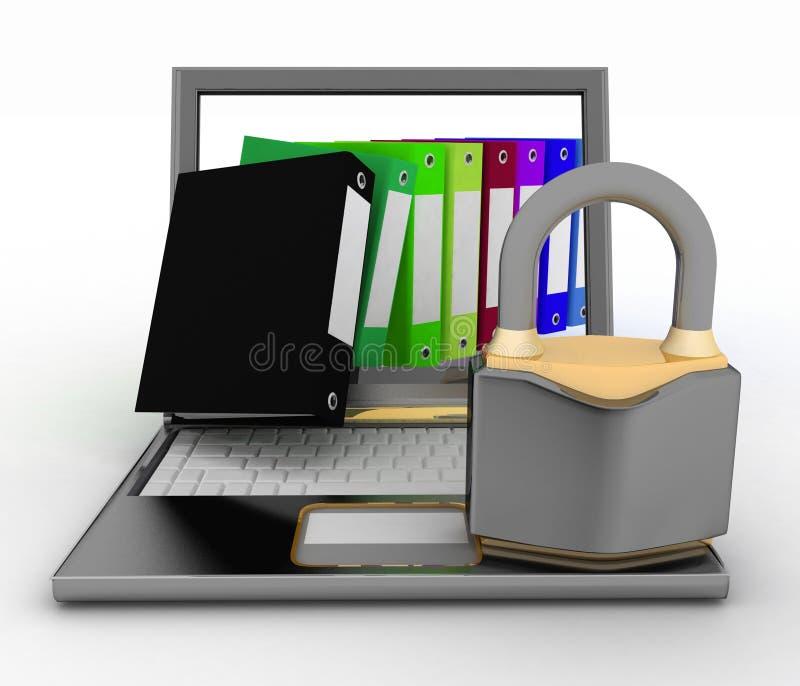 文件的安全保障 3d在一个空白背景的例证 向量例证
