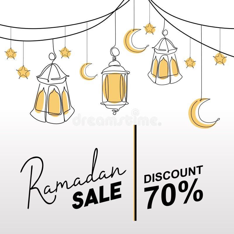 斋月与装饰灯笼、月亮和星的销售横幅 伊斯兰教的招呼的模板传染媒介例证 向量例证
