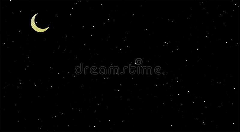 斋月夜景,发光的星,黑背景 在天空的月亮 库存例证