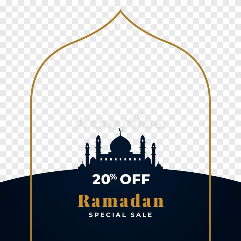 20%斋月特殊的拍卖背景与透明图象地方持有人空间的模板设计 伟大的清真寺剪影与 向量例证