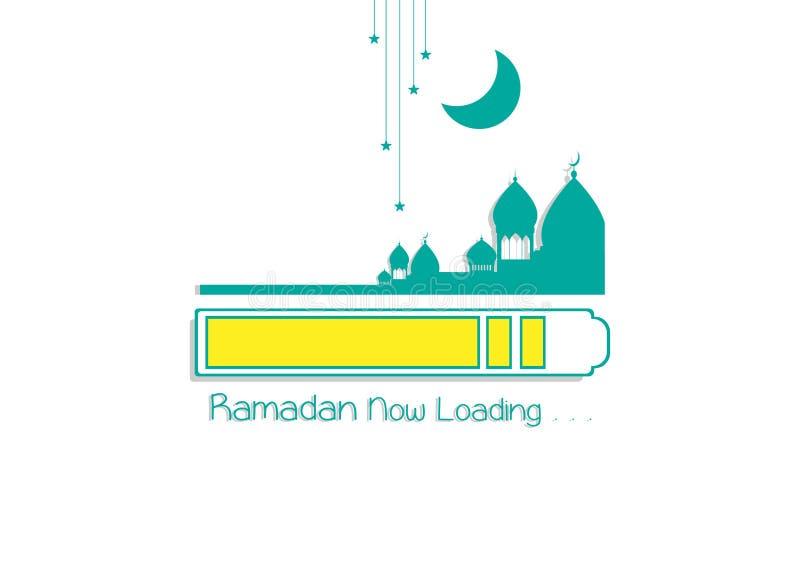斋月现在装载的Kareem 伊斯兰教的设计清真寺圆顶 库存例证