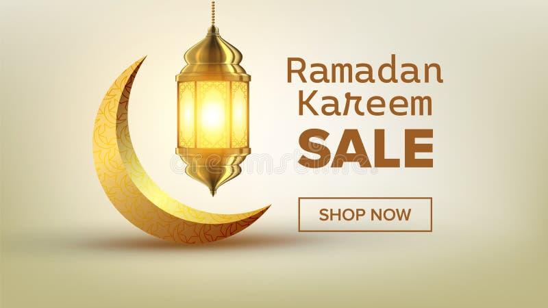 斋月销售横幅传染媒介 Eid背景 提议标记 超级销售 伊斯兰教的海报 阿拉伯模板 拉马赞问候 向量例证