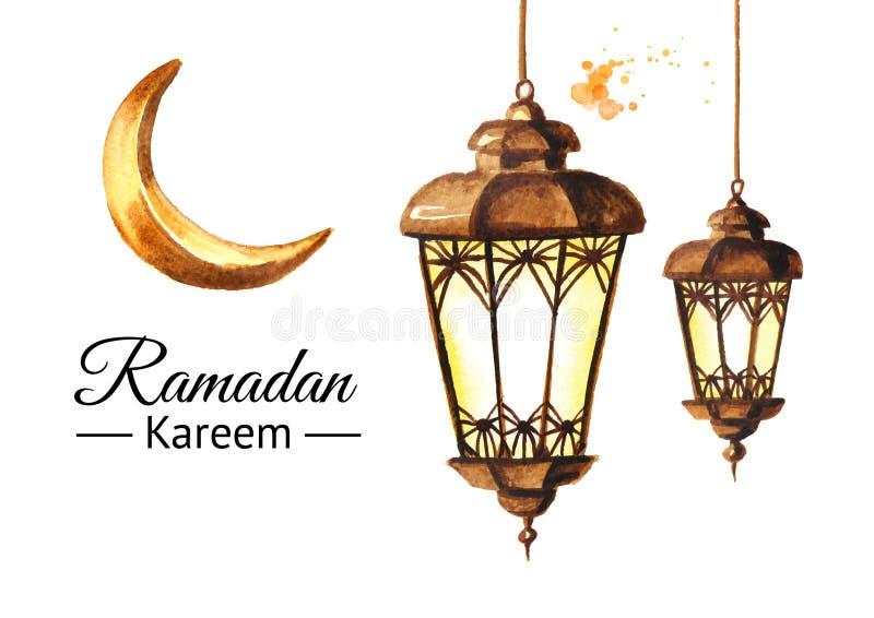 斋月Kareem与灯笼和月牙的贺卡 水彩手拉的例证,隔绝在白色背景 库存例证