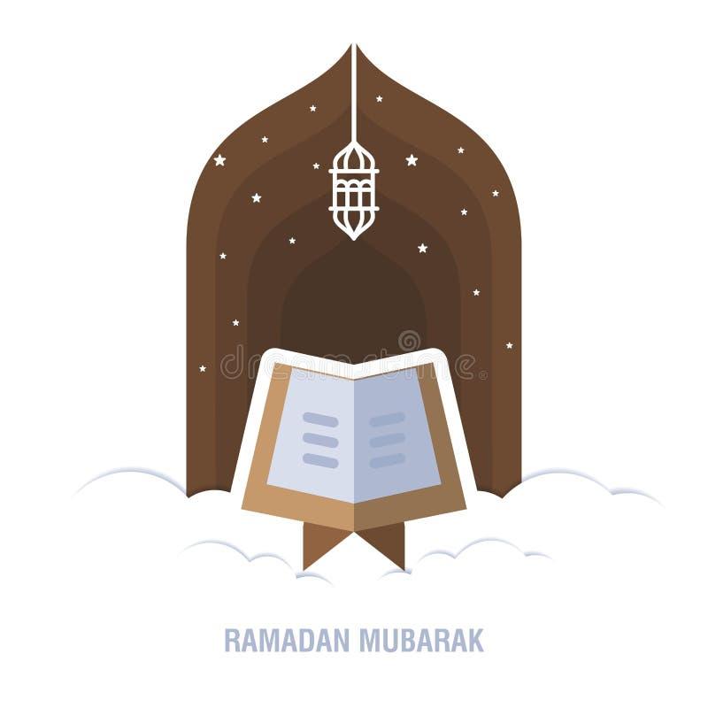 斋月Kareem伊斯兰教的设计新月形月亮和清真寺圆顶剪影与阿拉伯样式和书法 向量例证