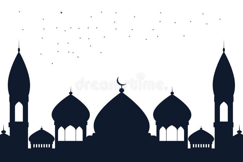斋月Kareem伊斯兰教的设计清真寺圆顶手拉的剪影  库存例证