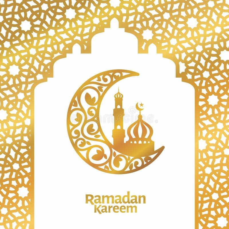 斋月kareem招呼的模板伊斯兰教的花卉月牙和清真寺豪华传染媒介例证 库存例证