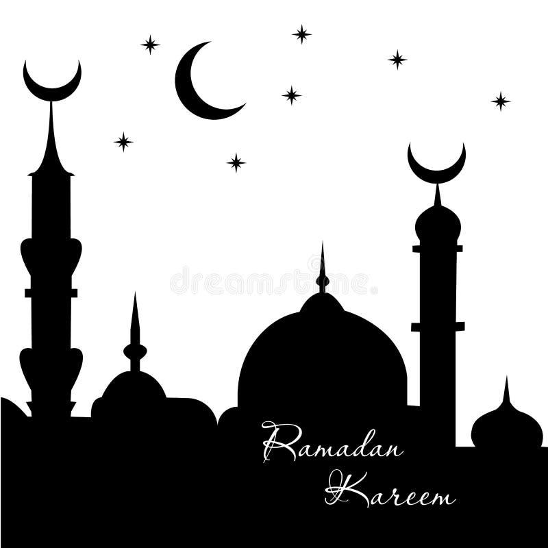 斋月Kareem阿拉伯书法问候设计伊斯兰教的线与经典样式和灯笼-传染媒介的清真寺圆顶 库存例证