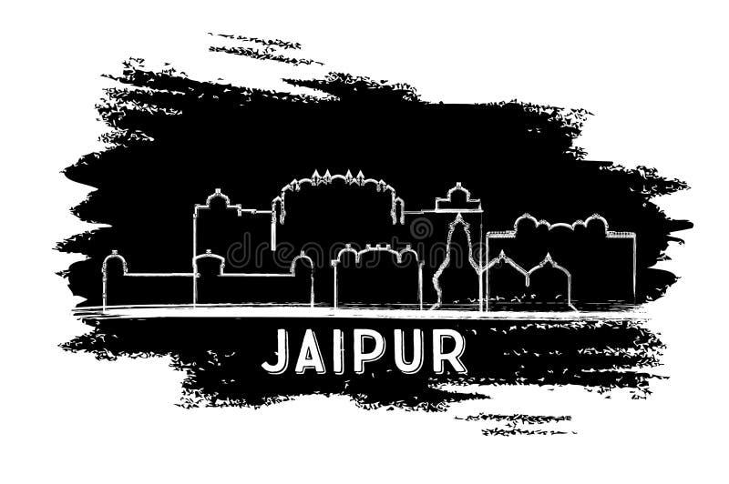 斋浦尔印度市地平线剪影 手拉的草图 皇族释放例证