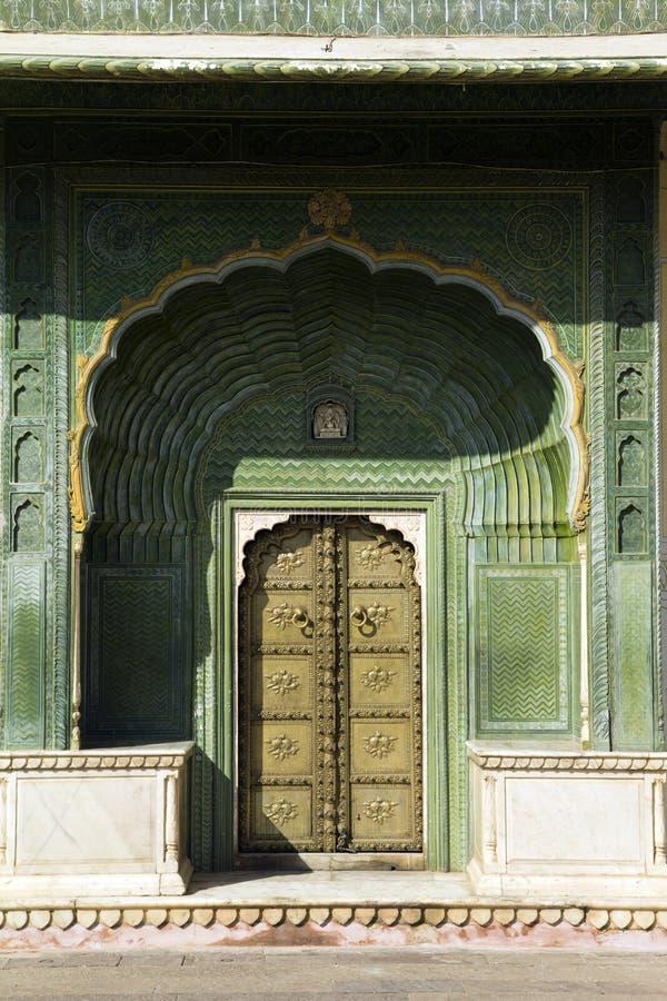 斋浦尔宫殿,门,印度 免版税库存照片