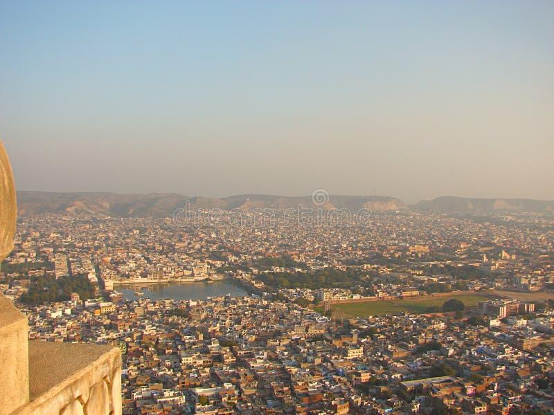 斋浦尔市看法从Nahargarh堡垒,拉贾斯坦,印度的 免版税图库摄影