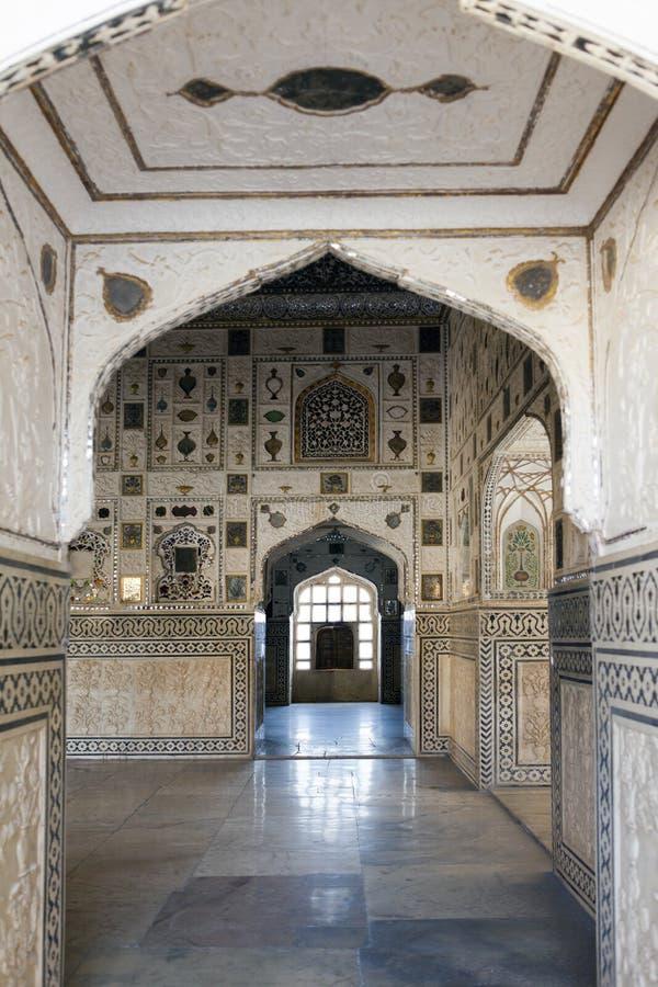 斋浦尔,印度–2014年1月29日:堡垒琥珀的镜子室 免版税图库摄影