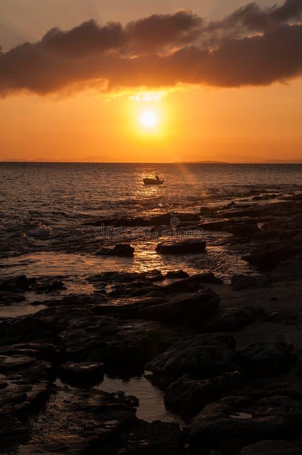 斐济日落 库存照片