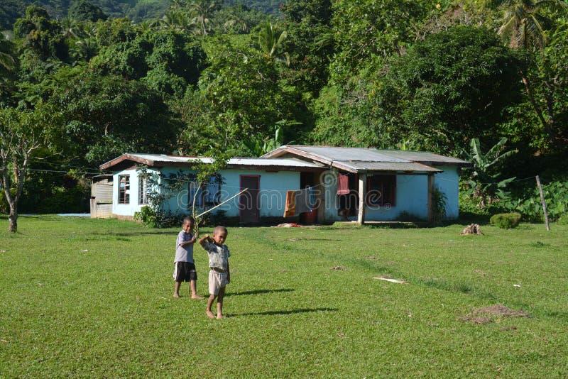 斐济村庄生活 库存照片