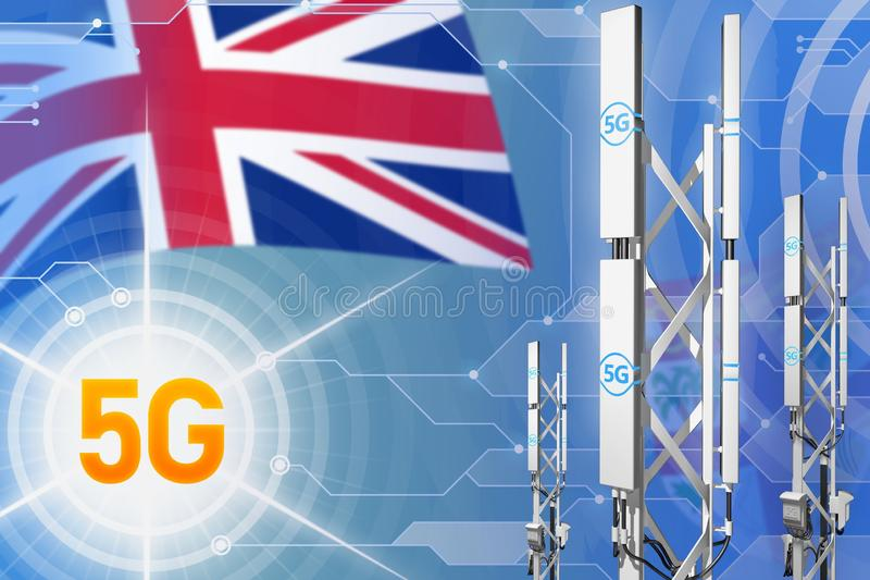 斐济5G工业例证、大多孔的网络帆柱或者塔在高科技背景与旗子- 3D例证 皇族释放例证
