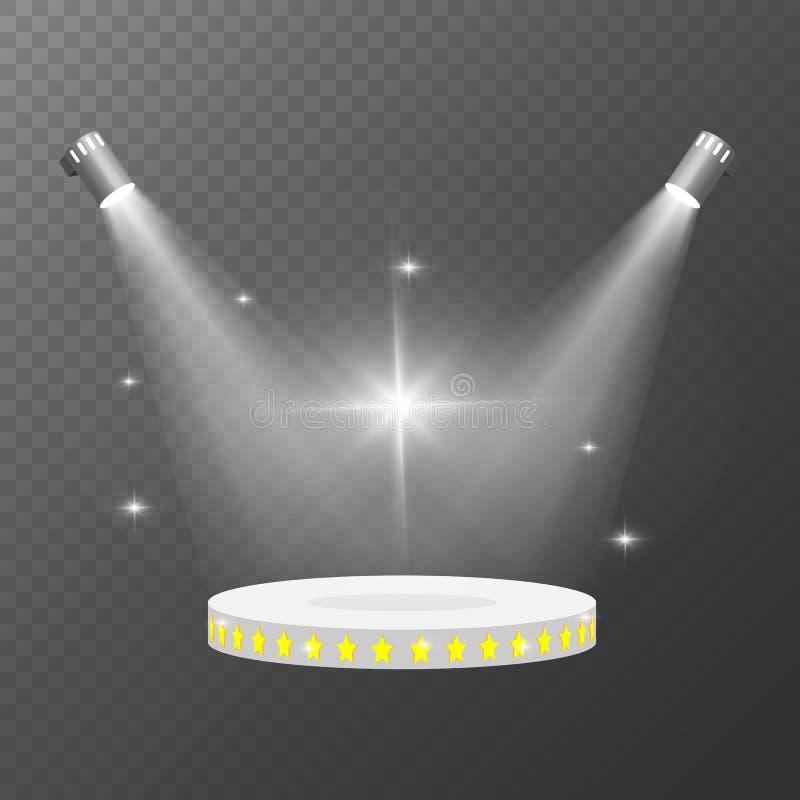 斑点点燃传染媒介 在轻的背景的聚光灯照亮的垫座 透明现实场面的照明 皇族释放例证