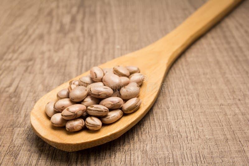 斑豆豆类 匙子和五谷在木桌 免版税库存图片